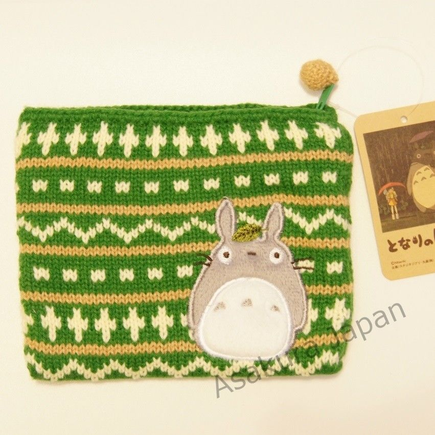 Studio Ghibli My Neighbor Totoro Knitted Flat Pouch Case Leaves