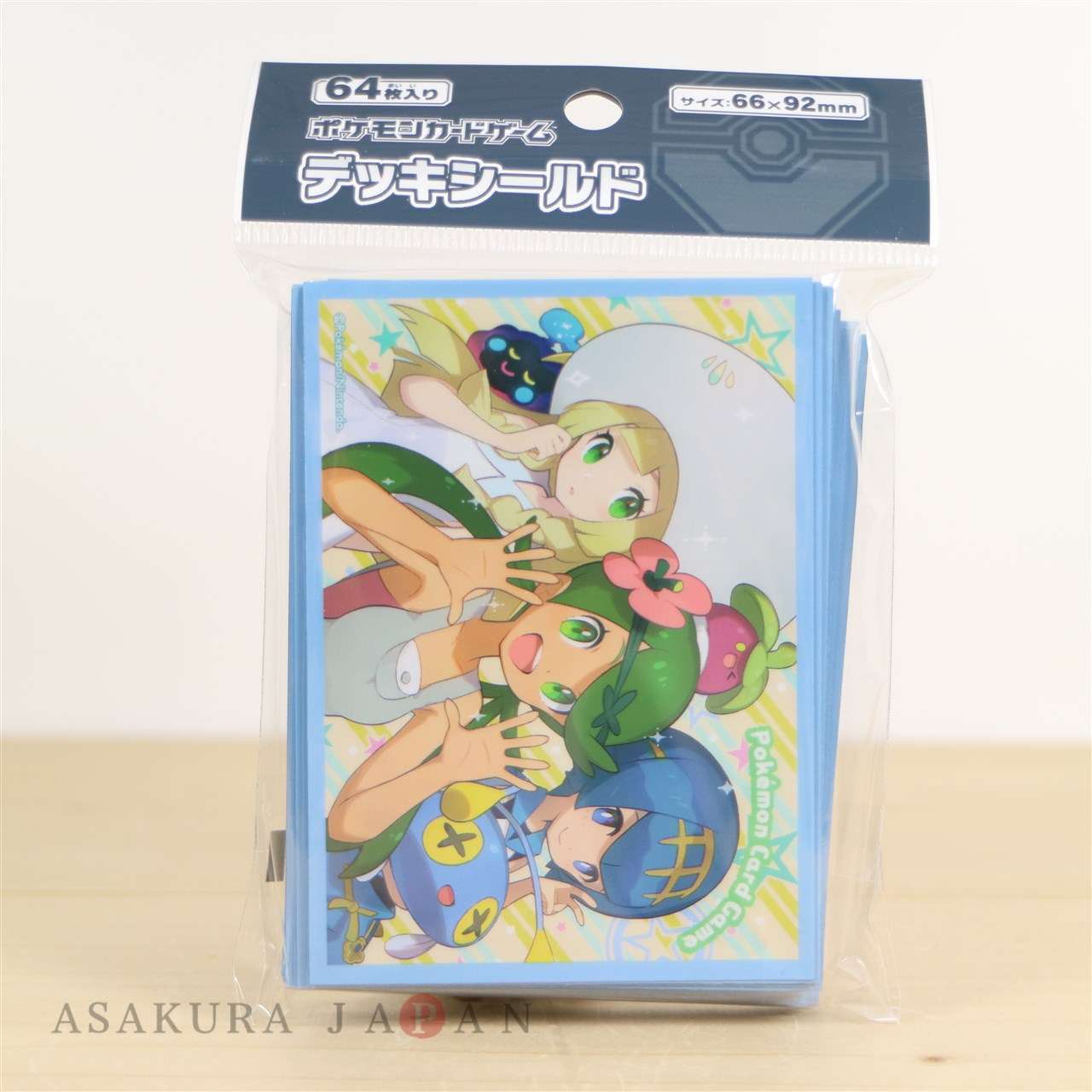 POKEMON CENTER 2018 LILLIE MALLOW LANA SET OF 64 DECK SLEEVES Sealed Sleeves and