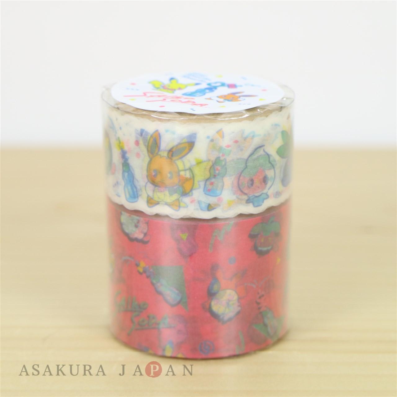 Pokemon Center Original SAIKO SODA Sticky Paper Masking Tape Pikachu Eevee